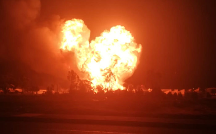 A screengrab of a gas tanker exploding in Worcester on 10 July 2019.