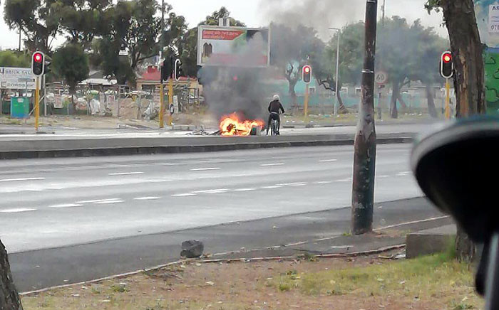 Protesters set tyres alight at Klipfontein Road in Athlone, Cape Town, during a protest on 23 October 2019. Picture: Supplied