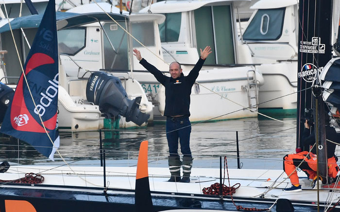 French skipper Kevin Escoffier waves to his family before the start of the Vendee Globe solo around-the-world sailing race in Les Sables-d'Olonne, western France, on 8 November 2020. Picture: AFP