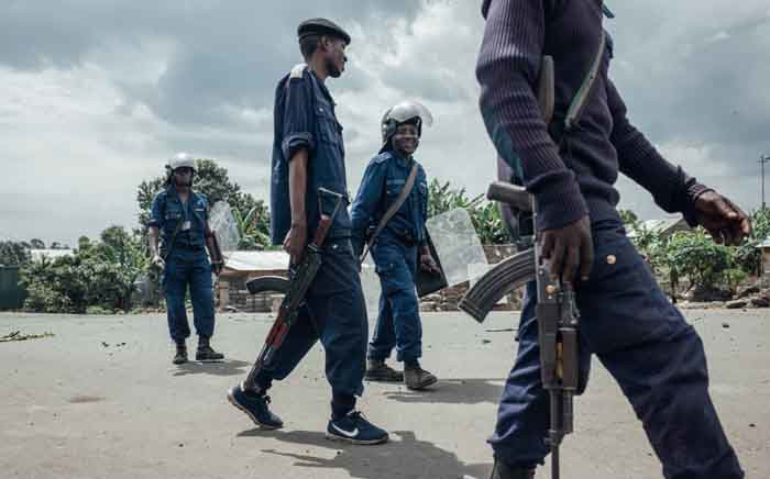 FILE: Congolese National Police respond to protests in the Majengo neighborhood of Goma, on 22 March 2019, following four deaths and 10 kidnappings the previous night by unknown assailants. Picture: AFP.