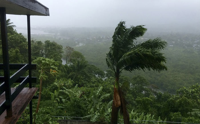 This handout photo taken on 20 February 2016 and provided by UNICEF Pacific on 21 February, shows a general view of the conditions during the landfall of category five super-storm Winston in Tamavua, Suva. Picture: AFP.