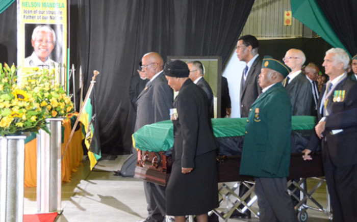 A hearse carrying the body of former president Nelson Mandela. Picture: Barry Bateman/EWN.