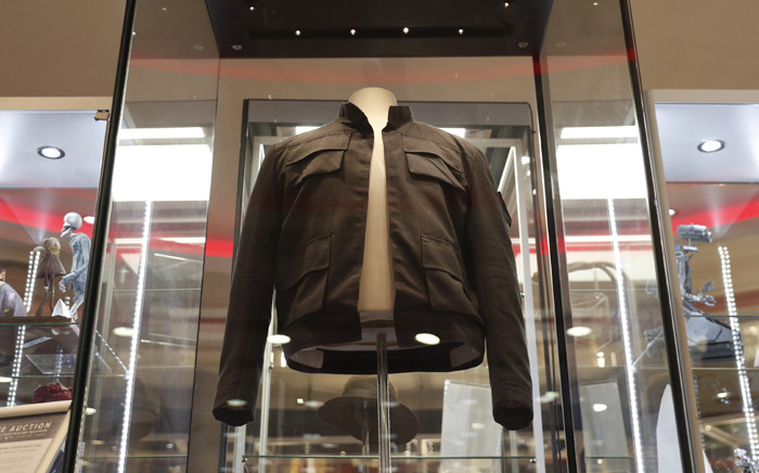 The jacket worn by Harrison Ford's character Han Solo in the 'Star Wars: The Empire Strikes Back' film on show at the Imax in central London on 6 September 2018. Picture: AFP.