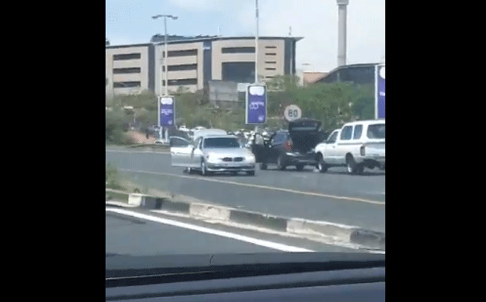 A man and a woman were shot and wounded along the M1 north in Johannesburg on 22 October 2018. Picture: Screengrab.