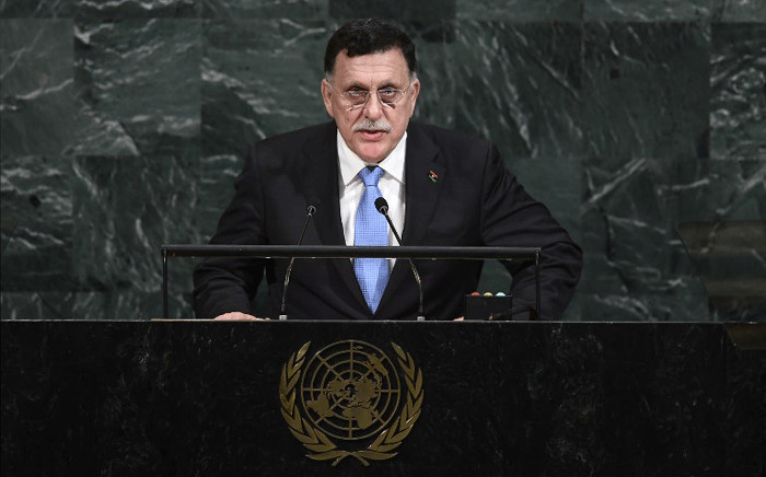 The head of Libya's UN-backed Government of National Accord, Fayez al-Serraj, addresses the 72nd Session of the United Nations General assembly at the UN headquarters in New York on September 20, 2017. Picture: AFP.