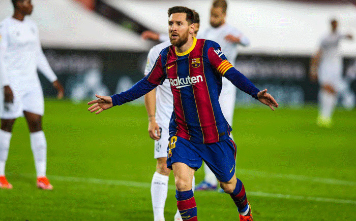 Barcelona's Lionel Messi celebrates a goal and equalling Xavi Hernandez's 767 appearance record for Barcelonan on 15 March 2021. Picture: @FCBarcelona/Twitter.