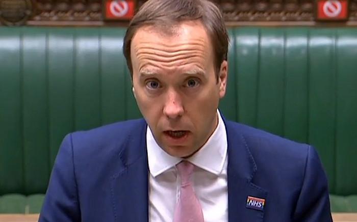 FILE: A video grab of UK Health Secretary Matt Hancock resigned on Saturday, 26 June 2021. Picture: AFP