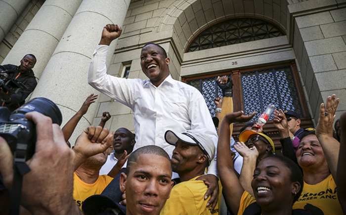 Ses'khona Peoples Rights Movement's Andile Lili outside the Western Cape High court. Picture: Thomas Holder/EWN.