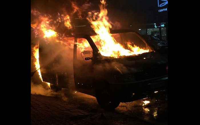 A SABC van was torched during student protests in Braamfontein on Friday 14 October 2016. Picture: @ilovezacom via Instagram.
