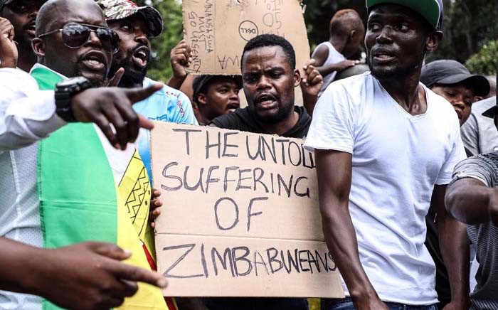 Protesters outside the Zimbabwean embassy in Pretoria on 16 January 2019. Picture: Abigail Javier/EWN