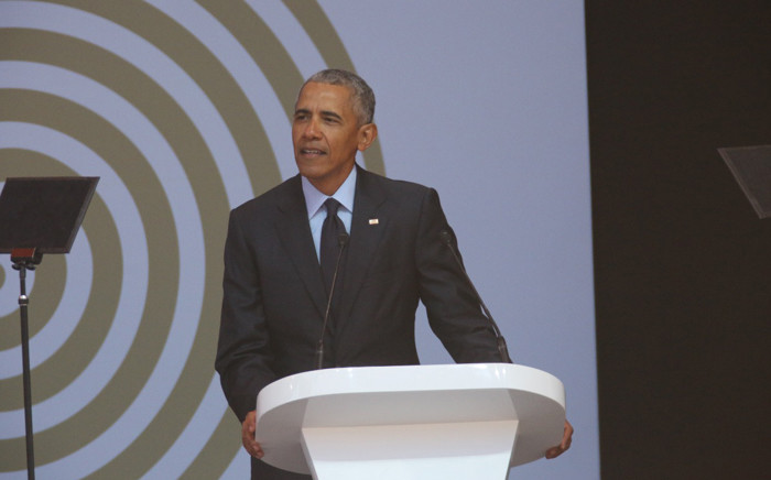 Former US President Barack Obama speaks at the 16th Nelson Mandela Annual Lecture at the Wanderers Cricket Stadium on 17 July 2018. Picture: Christa Eybers/EWN