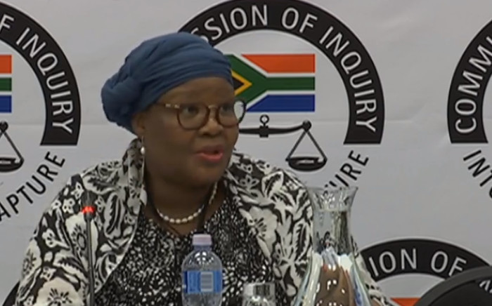 A screengrab of Vytjie Mentor appearing at the Zondo Commission on 11 February 2019.