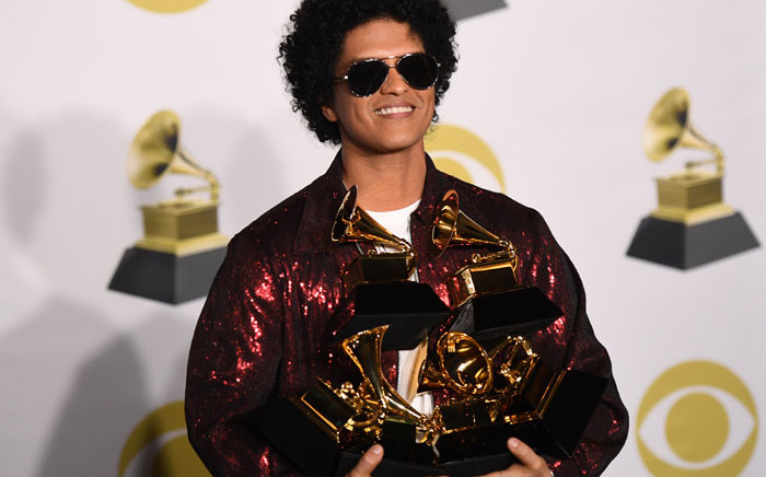 Bruno Mars with his Grammy awards on 28 January 2018. Picture: AFP