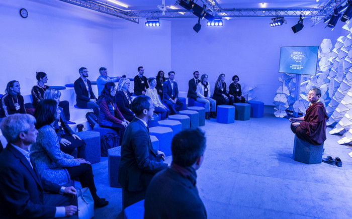 Tsoknyi Rinpoche during the session 'Morning Meditation' at the World Economic Forum in Davos on 23 January 2019. Picture: World Economic Forum