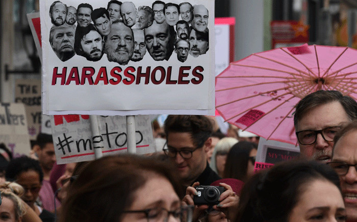 Victims of sexual harassment, sexual assault, sexual abuse and their supporters protest during a #MeToo march in Hollywood, California on November 12, 2017. Picture: AFP