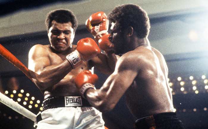 """""""World heavyweight champion Muhammad Ali (L) and US Leon Spinks (R) fight on February 15, 1978 in Las Vegas during their world heavyweight championship match. Picture: AFP."""