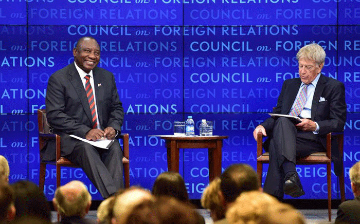 The Council on Foreign Relations in New York interviewed President Cyril Ramaphosa during his visit to the US. Picture: @PresidencyZA/Twitter