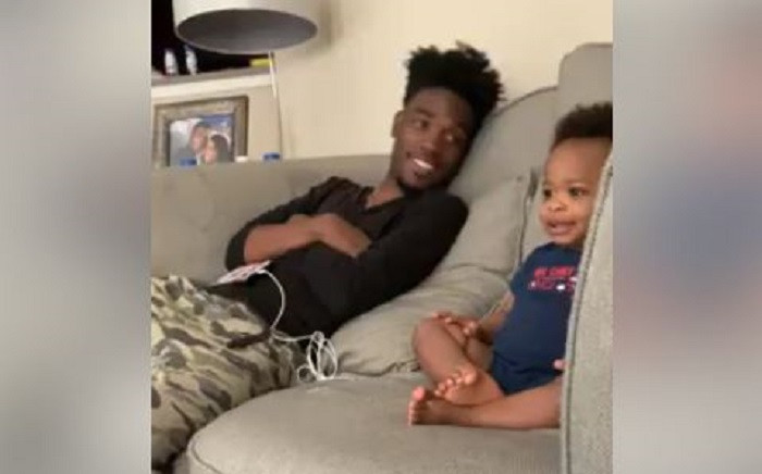 A screenshot of Dj Pryor and his son Kingston bonding over US series, Empire. Picture: NikiSpryor/Facebook