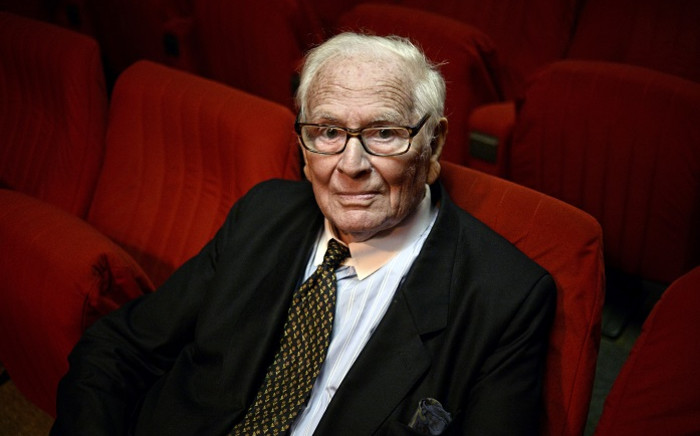 This file photo taken on 16 October 2014 shows French designer Pierre Cardin posing at the Espace Pierre Cardin in Paris. Picture: AFP.