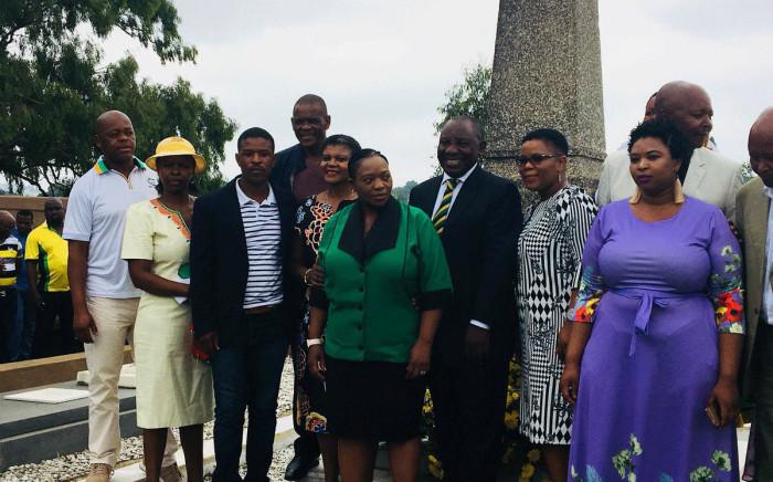 ANC president Cyril Ramaphosa seen with John Langalibalele Dube's family members, as the ANC honoured former presidents on its 106th birthday on 8 January, 2018. Picture: Ziyanda Ngcobo/EWN.