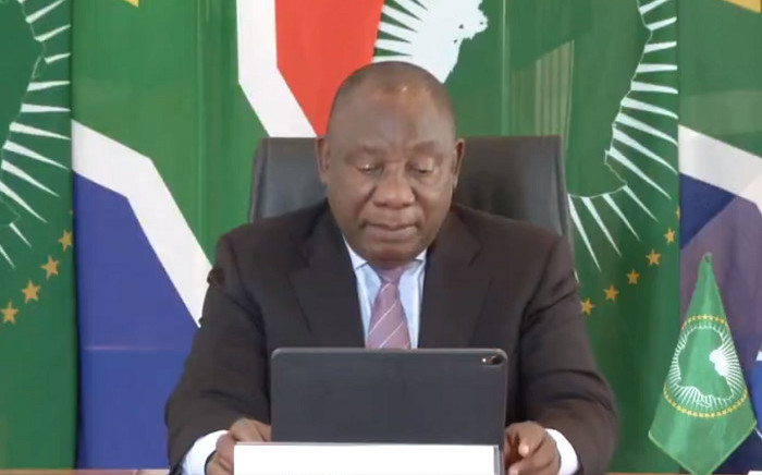 A screengrab of President Cyril Ramaphosa addressing the virtual 73rd Session of the World Health Assembly (WHA) on 18 May 2020.