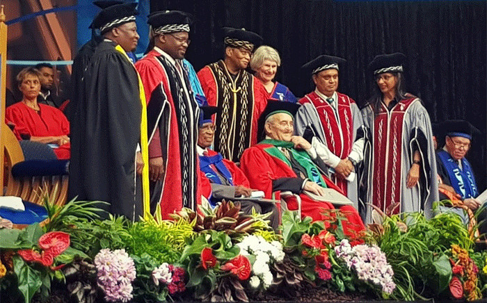 Professor Denis Goldberg and Dr Andrew Mlangeni receive honourary doctorates from the Cape Peninsula University of Technology. Picture @FulhamBoys_JG/Twitter
