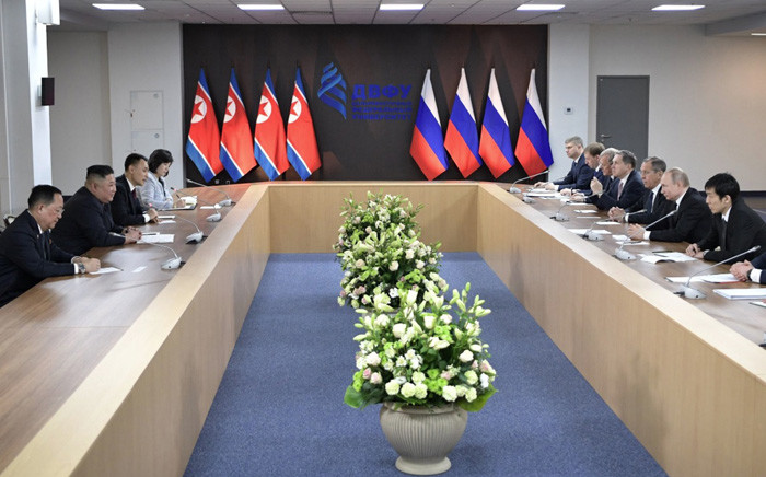 Russian President Vladimir Putin held talks with DPRK leader Kim Jong-un on Russky Island. Picture: @KremlinRussia_E/Twitter.