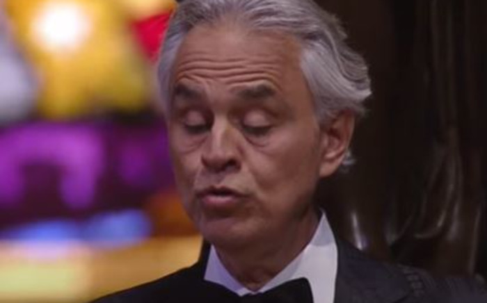 Andrea Bocelli performed a solo Easter concert from an empty Milan Cathedral streamed live. Picture: YouTube Screengrab