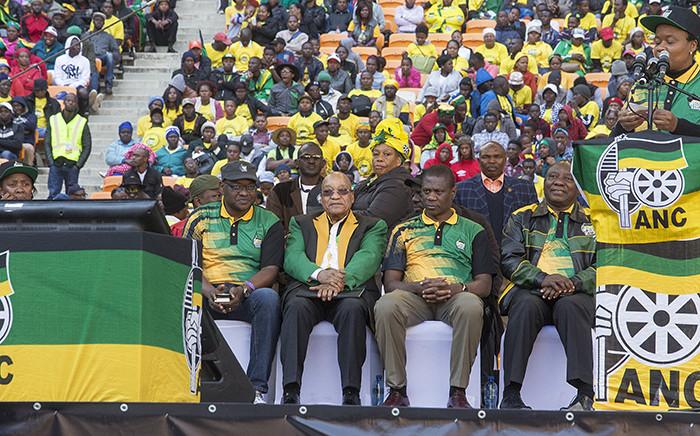 FILE: Gauteng Premier David Makhura, ANC President Jacob Zuma, Gauteng ANC chairperson Paul Mashatile and Deputy President Cyril Ramaphosa dance during the party's Gauteng manifesto launch on 4 June 2016. Picture: Reinart Toerien/EWN.