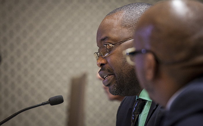 Justice Minister Michael Masutha addresses the media at the GCIS head office in Pretoria on 21 October 2016 to confirm South Africa's decision to withdraw from the International Crimanal Court. Picture: Reinart Toerien/EWN.