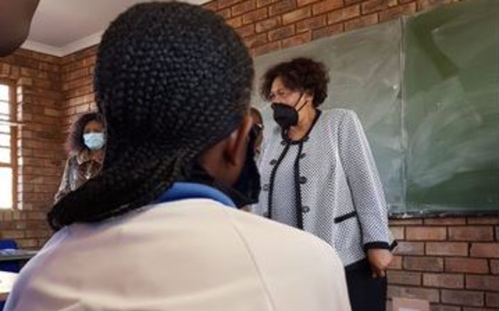 Basic Education Minister Angie Motshekga is monitoring the return of matric pupils to schools in Brits in the North West province. Picture: @DBE_SA/Twitter