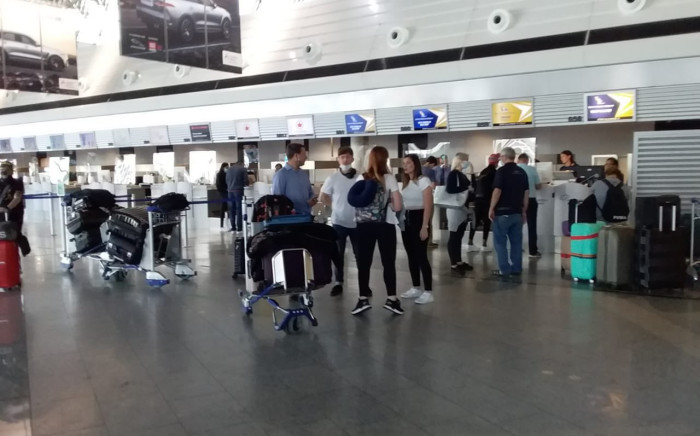 South Africans left by SAA flight at Frankfurt Airport in Germany today say they have to sleep there as they can't afford accommodation. Picture: Supplied