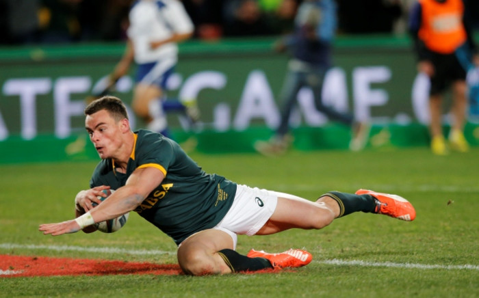 FILE. Jesse Kriel scores a try during the South Africa versus New Zealand match for the Castle Lager Rugby Championship in Johannesburg on 25 July 2015 at the Emirates Airline Park. Picture: AFP.