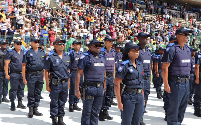 City of Cape Town law enforcement officers during a passing out parade at Athlone Stadium in Cape Town on 9 February 2020. Picture: @alanwinde/Twitter