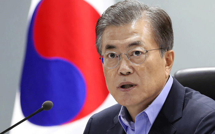 FILE: South Korean President Moon Jae-in speaks during an emergency National Security Council meeting at the presidential Blue House in Seoul on 3 September 2017. Picture: AFP.
