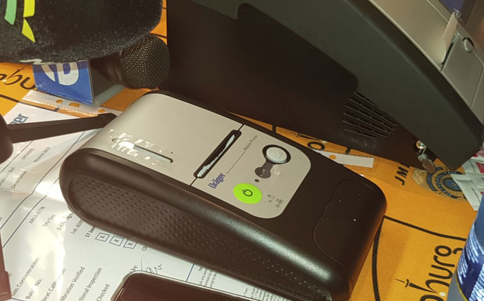 The Evidential Breath Alcotest Machine (EBAT) which was launched on 21 December at the JMPD headquarters. Picture: @AsktheChiefJMPD/Twitter.