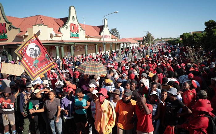 EFF members outside the Senekal Magistrates Court on Friday, 16 October 2020. Picture: Abigail Javier/EWN