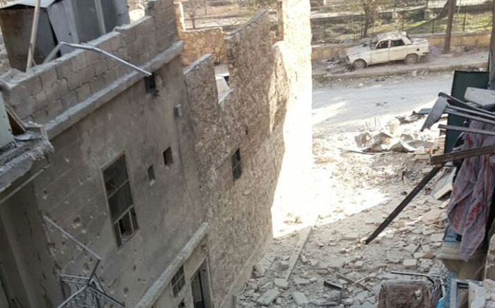 The rubble of what used to be Bana Alabed's home. Picture: Twitter/@AlabedBana