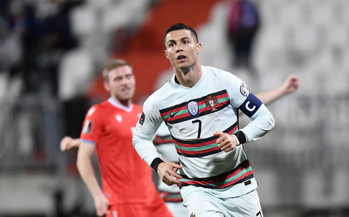 Portugal's forward Cristiano Ronaldo celebrates after scoring a goal during the Fifa World Cup Qatar 2022 qualification Group A football match between Luxembourg and Portugal at the Josy Barthel Stadium, in Luxembourg City, on 30 March 2021. Picture: John Thys/AFP