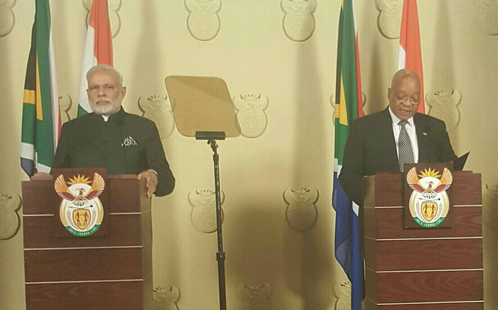 President Jacob Zuma with India's Prime Minister Narendra Modi. Picture: GCIS.