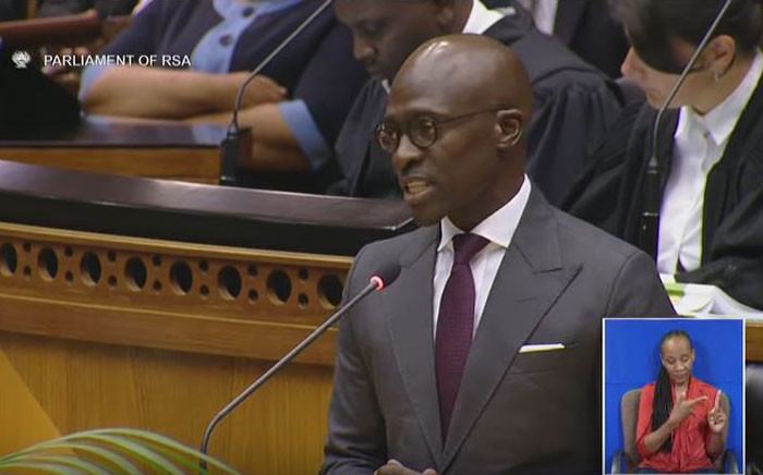 A YouTube screengrab of Finance Minister Malusi Gigaba delivering the Budget speech in Parliament on 21 February 2018.