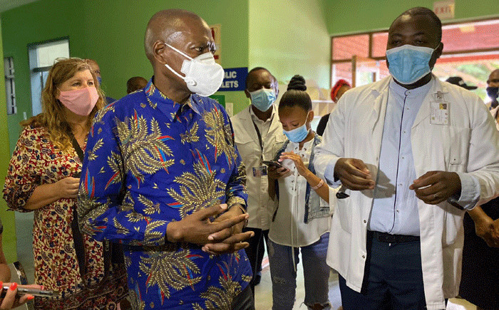 Health Minister Zweli Mkhize at the Mokopane Hospital on 20 January 2021. Picture: @DrZweliMkhze/Twitter.