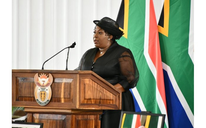 Premier Refilwe Mtsweni-Tsipane delivers the welcoming remarks during the official service for Minister Jackson Mthembu. Picture: GCIS