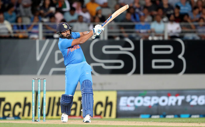 FILE: India's Rohit Sharma plays a shot during the second Twenty20 international cricket match between New Zealand and India in Auckland on 8 February 2019. Picture: AFP