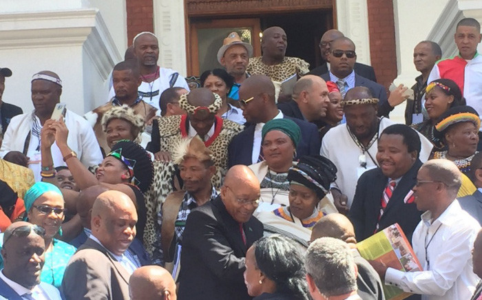 President Jacob Zuma engaging with traditional leaders following his opening of the National House of Traditional Leaders. Picture: Kevin Brandt/EWN.