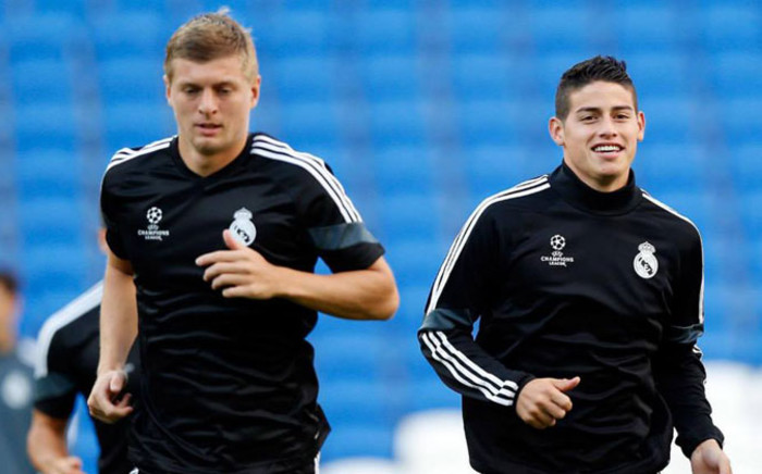 Real Madrid's Toni Kroos and James Rodriguez during training ahead of their Uefa Super Cup soccer match against Sevilla at Cardiff City Stadium. Picture: Facebook.com.