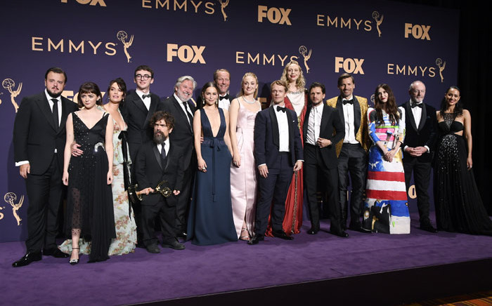 Cast and crew of 'Game of Thrones' pose with awards for Outstanding Drama Series in the press room during the 71st Emmy Awards at Microsoft Theater on 22 September 2019 in Los Angeles, California. Picture: AFP