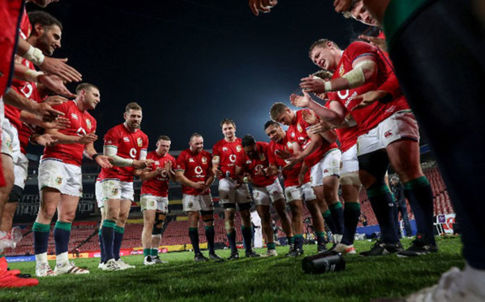 The British & Irish Lions in a huddle after their victory after the Sharks on 7 July 2021. Picture: @lionsofficial/Twitter