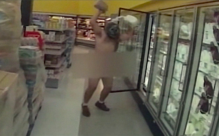 Naked streaker in Walmart store. Picture: CNN