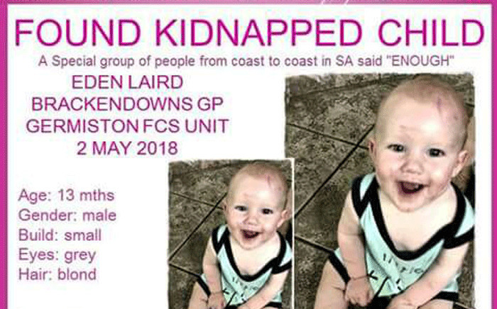 FILE: The 13-month-old toddler who was kidnapped on 2 May has been found and reunited with his family. Picture: Pink Ladies.